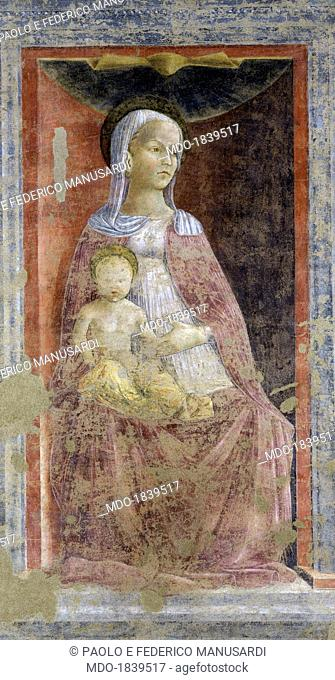 Enthroned Madonna with Child - Madonna of the Chapter House, by Unknown Artist, 15th Century, torn fresco. Italy, Lombardy, Cremona, Bishop Palace