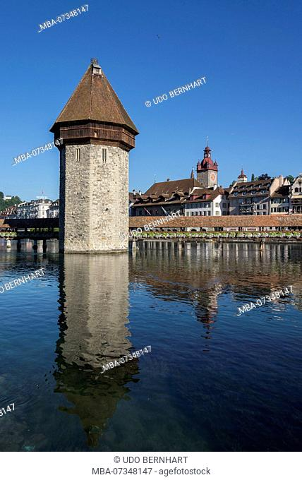 Kapellbrücke and Water Tower, Lucerne, Lake Lucerne, Canton of Lucerne, Switzerland
