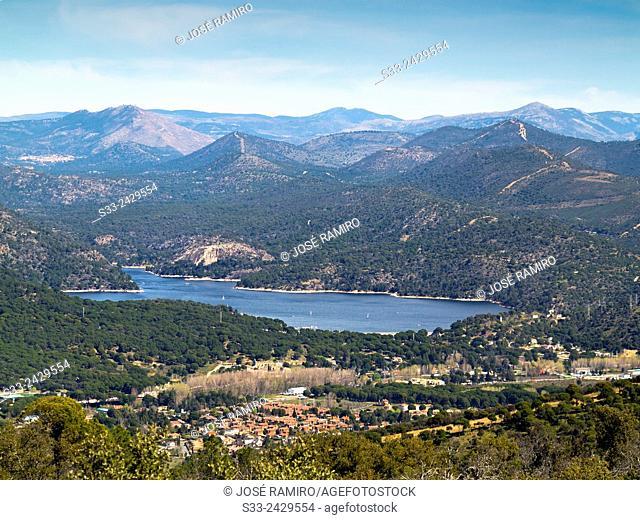 San Juan reservoir and Pelayos de la Presa from Valdenoches hill. Madrid. Spain. Europe