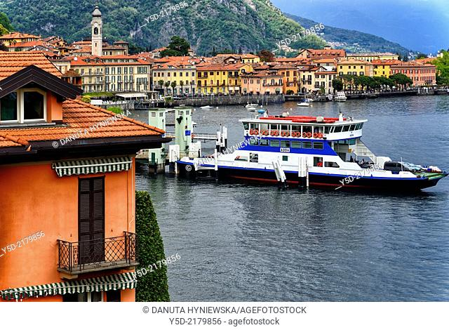 Menaggio view for ferry port, province Como, Lombardy, northern Italy, western shore of Lake Como