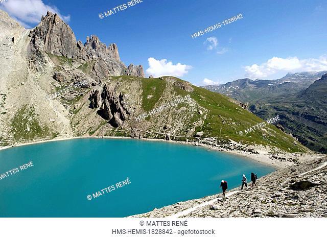 France, Hautes Alpes, Brianconnais area, the upper valley of La Claree, Lac Beraudes (2504m)