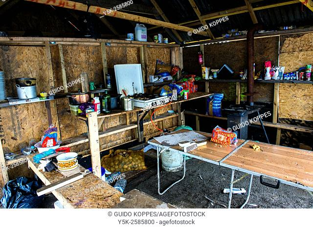 Dunkerque, France. Interior of temporary tents and sheds, as used by illegal immigrants bound for the UK