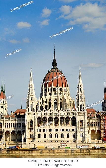 Budapest, Hungary. Parliament Building or Orszaghaz (Imre Steindl: 1884-1904 - Gothic Revival) on the River Danube