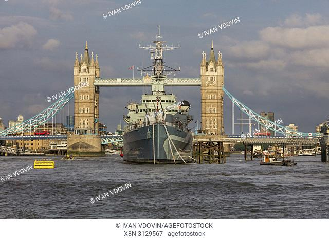Tower Bridge and HMS Belfast, London, England, UK