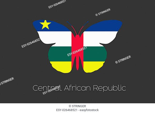 A Butterfly with the flag of Central African Republic