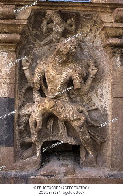 Narsimha sculpture. Mahakuta Temples, Badami, Karnataka. 6th or 7th century CE constructed by the early kings of the Chalukya dynasty