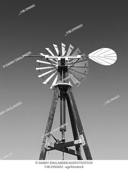 Old-West, vintage wind pump in black & white