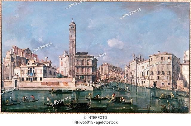 fine arts, Guardi, Francesco, 1712 - 1793, painting, the Canal Grande at San Geremia, circa 1760, oil on canvas, 71,5 cm x 120 cm, Old Pinakothek, Munich