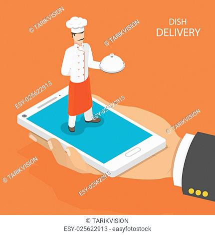 Dish fast delivery flat isometric vector concept. Mans hand takes a mobile phone with chef on it, that holds the dish on his hand