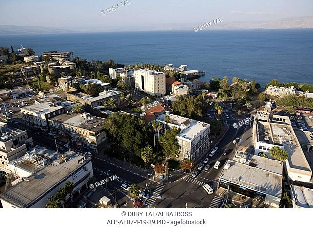 Aerial photograph of 18th century fortress in the modern city of Tiberias in the Sea of Galilee