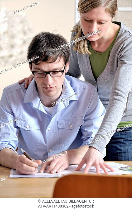 Couple with documents