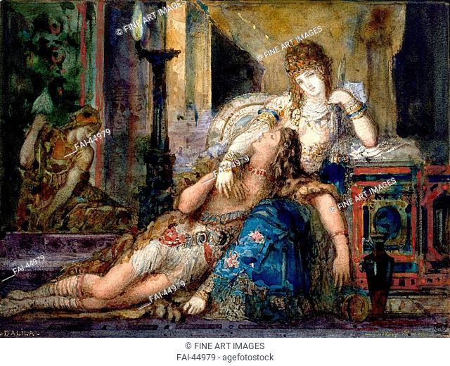 Samson and Delilah by Moreau, Gustave (1826-1898)/Watercolour on paper/Symbolism/1882/France/Musée d'Orsay, Paris/Bible/Painting/Simson und Delila von Moreau