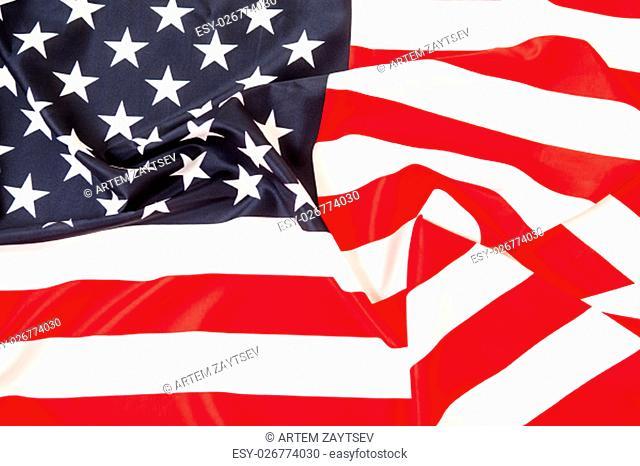 USA flag. Pure linen fabric flag carefully folded