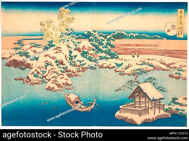 雪月花 隅田/Snow on the Sumida River (Sumida), from the series, Snow, Moon, and Flowers (Setsugekka). Artist: Katsushika Hokusai (Japanese