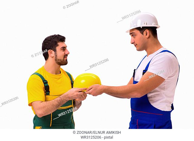 The two workers isolated on the white background
