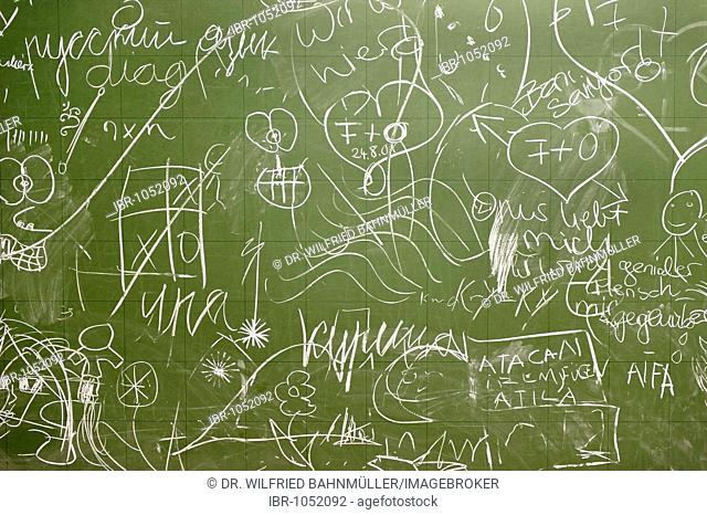 Blackboard covered with chalk scribblings