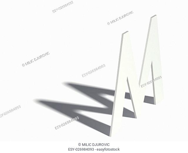 Drop shadow font. Letter M. 3D render illustration isolated on white background