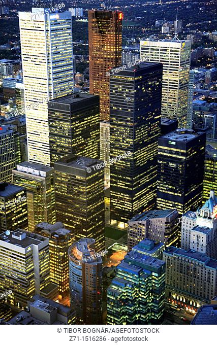 Canada, Ontario, Toronto, downtown skyline, aerial view