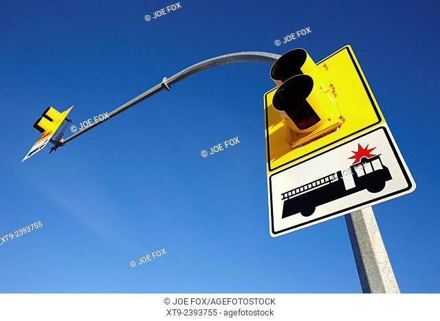 fire engine stop sign and signal Saskatoon Saskatchewan Canada