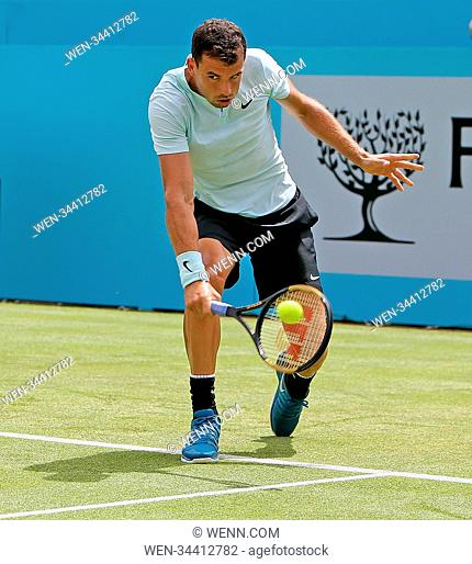 Grigor Dimitrov of Bulgaria in action in his match against Damir Dzumhur of Bosnia. Featuring: Grigor Dimitrov Where: Queens London, London