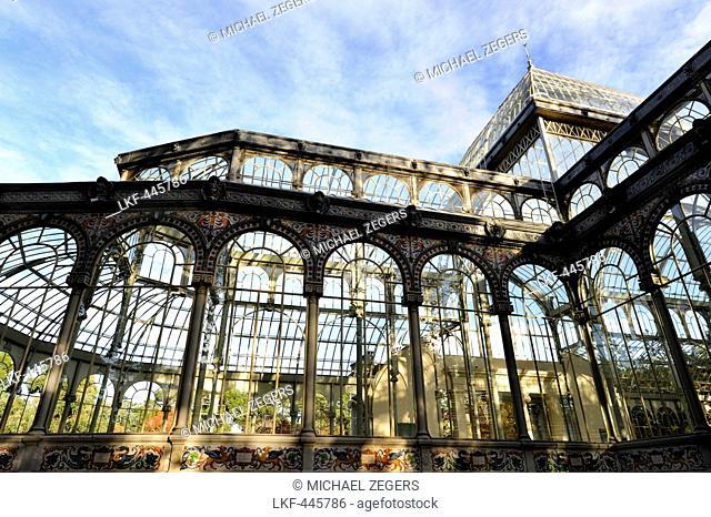 Pavilion for expositions Palacio de Cristal, Parque del Retiro, a park in the city center, Madrid, Spain