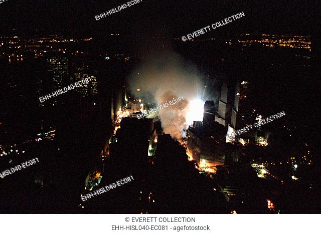 The World Trade Center rescue site in New York City is seen the evening of Friday, Sept. 14, 2001. Photo was taken from President George W