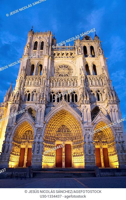 Night view  Cathedral of Notre Dame, from XIII Century, in Amiens listed as World Heritage by UNESCO  It's the Highest ghotic cathedral of France
