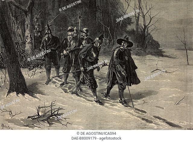 On the track, Soldiers in the winter woods, engraving by Skills after a drawing by Henry Benjamin Roberts (1831-1915), from The Illustrated London News, No 1685