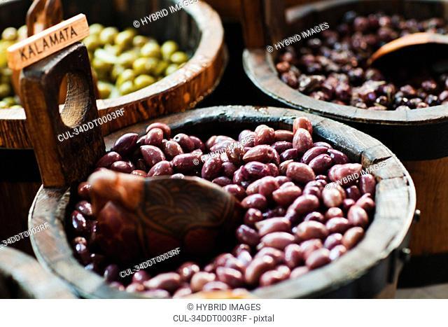 Close up of bowl of kalamata olives