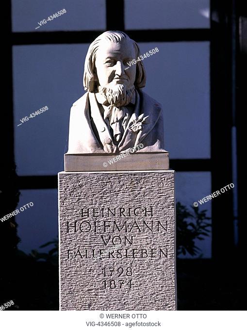Germany, WOLFSBURG,WOLFSBURG-FALLERSLEBEN, D-Wolfsburg-Fallersleben, Mittellandkanal, Niedersachsen, Denkmal, Heinrich Hoffmann von Fallersleben...
