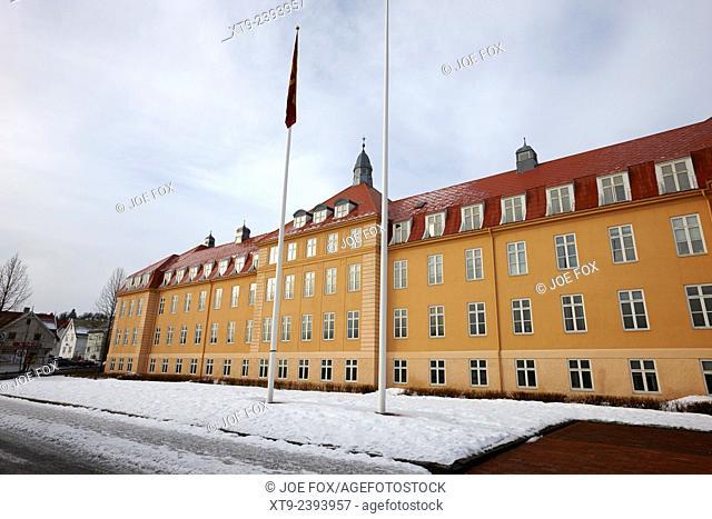 old regional hospital building now part of troms fylkesadministrasjon building Tromso Norway europe