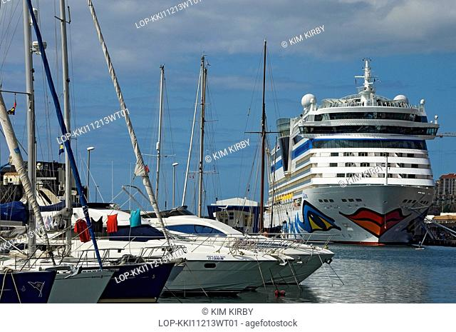 Portugal , Madeira , Funchal. Cruise ship AidAluna moored in Funchal harbour