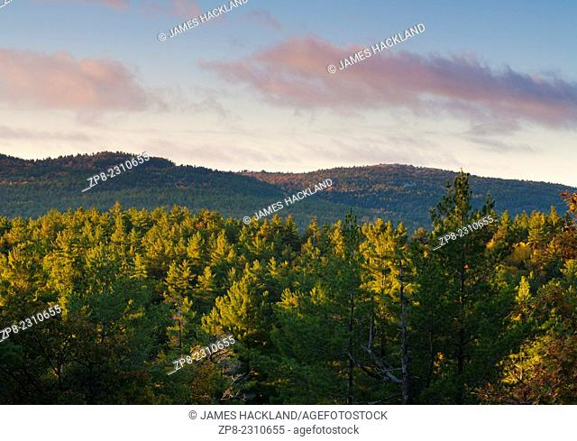 View of 'La Cloche Mountains' at sunrise. Killarney Provincial Park, Ontario, Canada