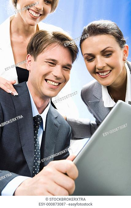 Business people community discuss an result of their work