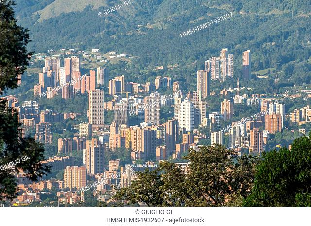 Colombia, Antioquia Department, Medellin, view from Montesacro cemetery on Itagui suburb