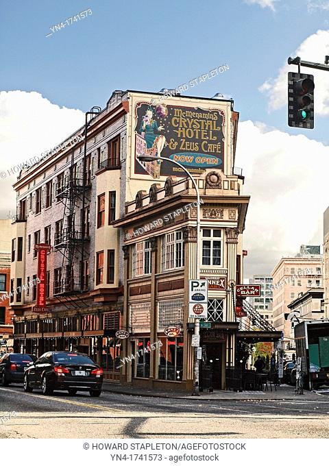 The Crystal hotel with bars and cafes in this narrow building is a Portland, Oregon landmark The building was constructed in 1911 and is on the National...