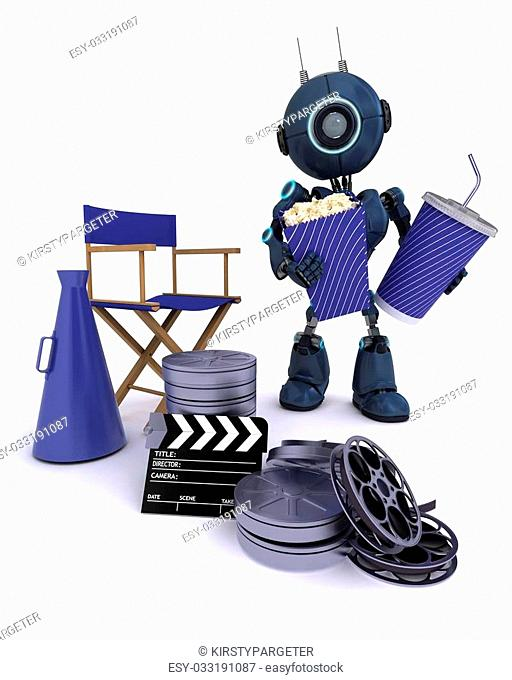 3D Render of an Android with directors chair popcorn and soda