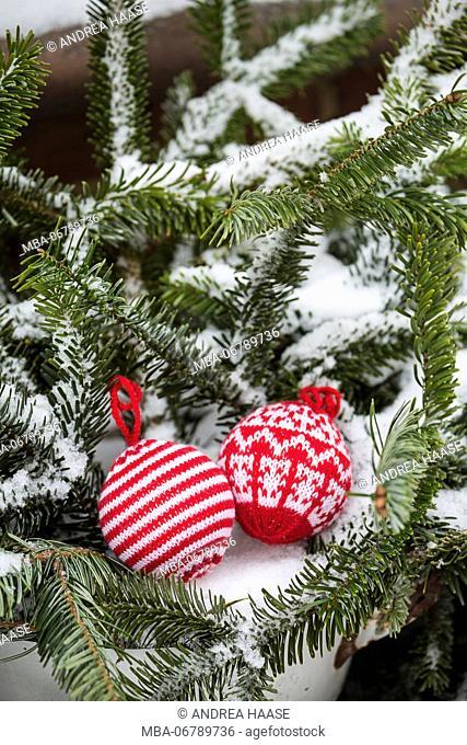 Christmas tree balls in the snow, decoration, still life