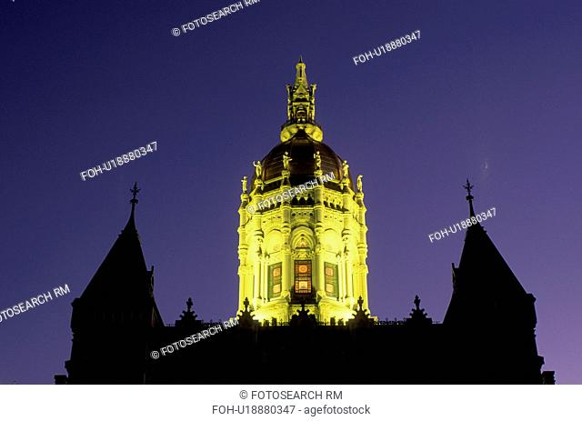 State Capitol, Hartford, State House, Connecticut, CT, The Dome of The State Capitol of Connecticut is illuminated at night on Capitol Hill in the Capital City...