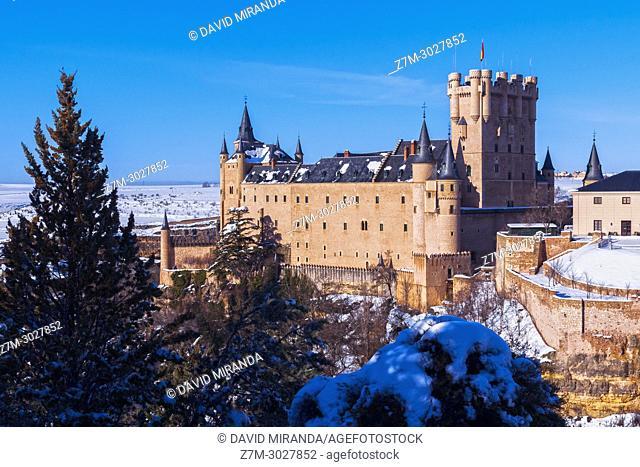 Alcázar de Segovia, snow-covered. Castile-Leon, Spain