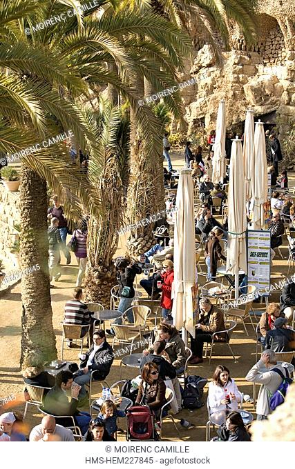 Spain, Catalonia, Barcelona, Gracia district, Park Guell by architect Antoni Gaudi, listed as World Heritage by UNESCO