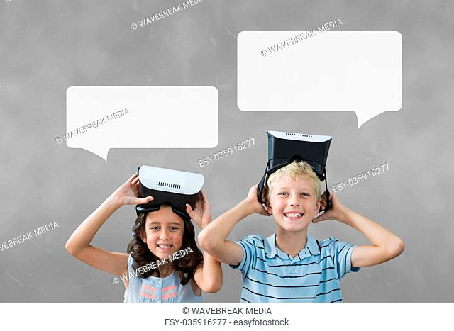 Kids with speech bubbles holding a VR headset against grey background