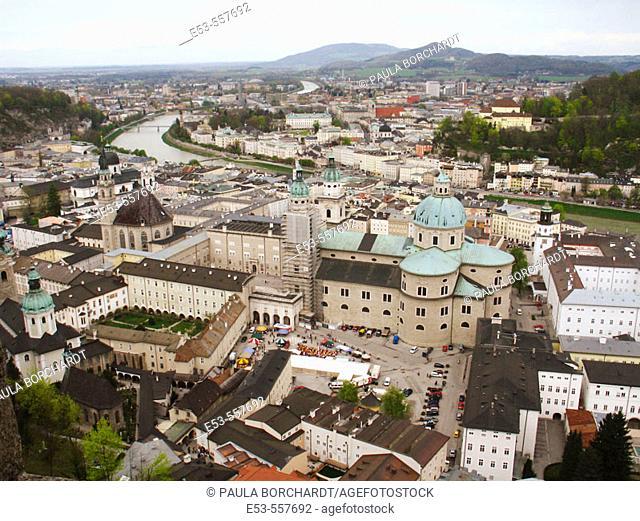 View of Salzburg including Dom St. Rupert, as seen from Festung Hohensalzburg (castle), Salzburg, Austria