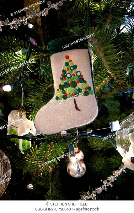 Stocking Ornament Hanging on Christmas Tree