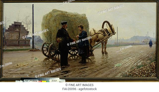 Deal. Kasatkin, Nikolai Alexeyevich (1859-1930). Oil on canvas. Realism. 1889. Russia. State Tretyakov Gallery, Moscow. 72x144,5. Genre. Painting