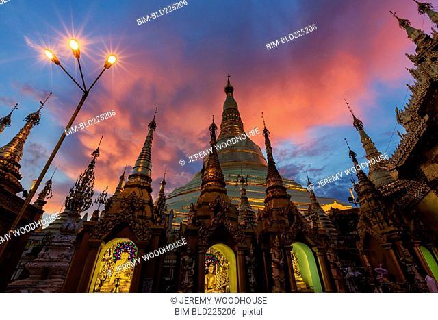 Dramatic sky over Shwedagon Pagoda, Yangon, Yangon Region, Burma