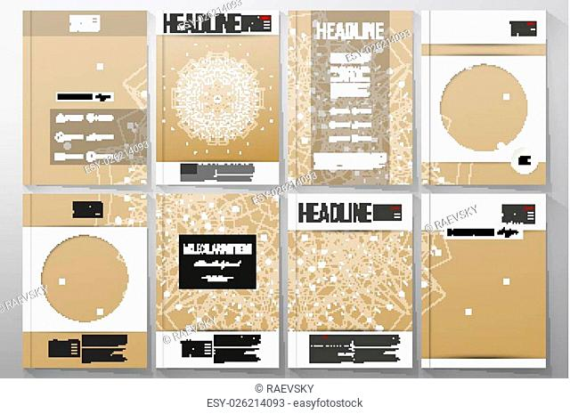 Set of business templates for brochure, flyer or booklet. Abstract polygonal low poly backdrop with connecting dots and lines, golden background