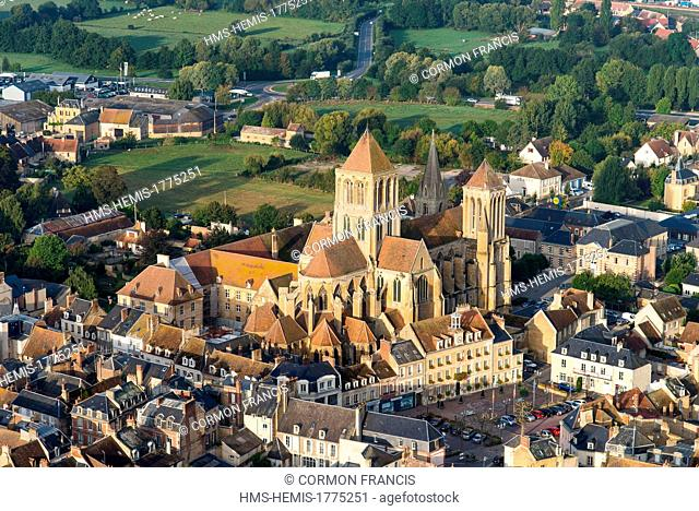 France, Calvados, Saint Pierre sur Dives, abbey church dated 11th to 17th century (aerial view)