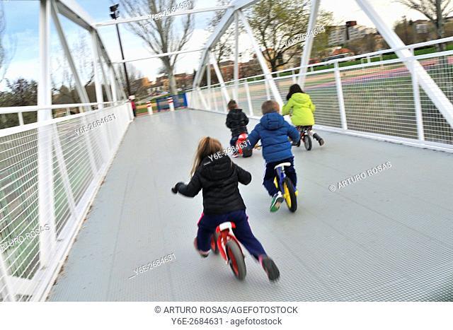 Children bicycle race. Salamanca; Spain