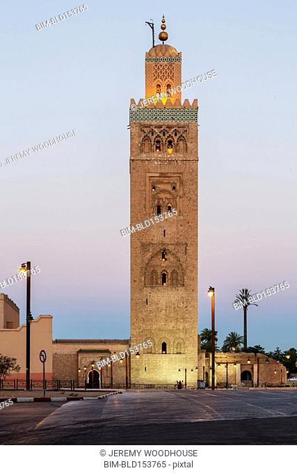 Koutoubia mosque tower under sunrise sky, Marrakech, Morocco